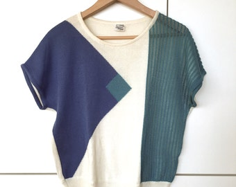 Rad 80s 90s Retro Short Sleeved Knit Sweater Shirt