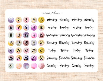 Watercolor Circle 2.0 Date Cover (matte planner stickers, fits perfect in Erin Condren Life Planner Vertical)