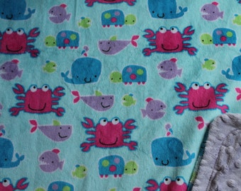 Minky Blanket Under the Sea Print Minky with Light Purple Dimple Dot Minky Backing - Perfect Size for a Baby or Toddler