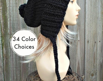 Womens Pom Pom Hat Black Slouchy Hat Knit Hat Black Hat Black Slouchy Beanie - Charlotte - Black Winter Hat - 34 Color Choices