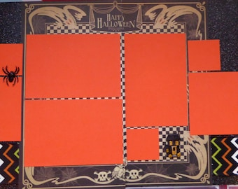"""Double page 12 x 12 scrapbook layout kit - """"Happy Halloween"""""""