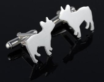 Custom Sterling Silver Dog Breed Silhouette Cufflinks