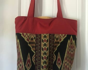 Black, red, & gold two tone reusable eco tote bag
