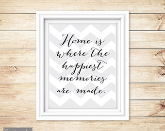 Home is where the happiest memories are made Chevron Wall Art Quote BlackTypography Printable 8x10 Digital JPG file Instant Download (4)