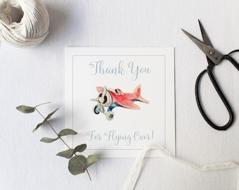 Airplane Birthday Favor Tags, Gift Tag, Birthday Favor, Watercolor Favor Tag, Watercolor Airplane, Digial Party Favor Tag, Welcome Aboard
