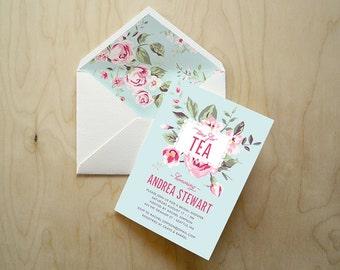 CUSTOMIZED PDF   Tea Party Invitations + Envelope Liner   Vintage Rose