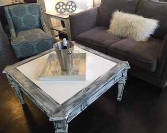 White Grey Black Etsy - Grey distressed wood coffee table