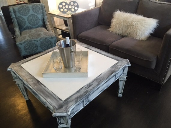 Distressed White GreyBlack Coffee Table Farm House Coffee