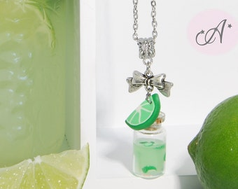 Vial necklace filled with limeade, pendant lime pendant glass vial, necklace lime polymer clay, lime juice, citrus fruit, citrus pendant necklace