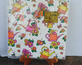 Vintage Gift Wrapping Paper Watering Cans Flowers Gifts St. Clair Mfg Corp