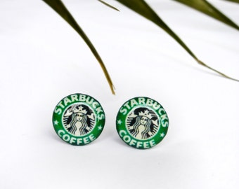 Starbucks studs / Starbucks earrings / Coffee studs / Starbucks jewelry /Coffee earrings / Starbucks lover studs / Starbucks gift idea