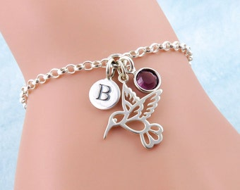 Sterling Silver Hummingbird Bracelet Personalized, Silver Bird Bracelet, Tiny Hummingbird Charm, Bird Jewelry, Initial Birthstone Bracelet