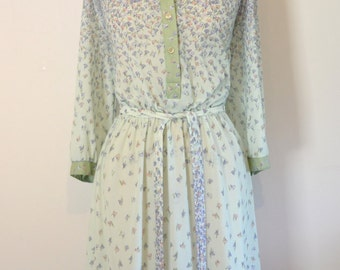 Vintage 1960s Henry Lee Mint Green Floral Dress