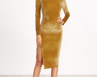 Mustard Pencil Dress