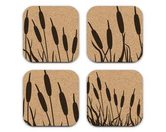 CATTAILS Beach Lake Coastal Cork Coaster Set Of 4 Home Decor Barware Decoration