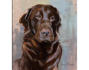 Chocolate Labrador Print - Matted Print of Original Custom Oil Painting - pet portrait, dog art, labs, dogs, puppy, animals, wall art