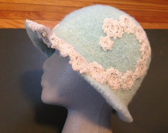Wool Hat,  hand-spun, knitted, dyed,  and  felted, with one vintage button.