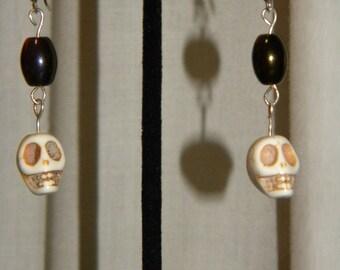 Skull Earrings, Bluish/Purplish Black Earrings, Silver Earrings, Goth Earrings, Biker Earrings, Rocker Earrings, Rock N Roll Earrings