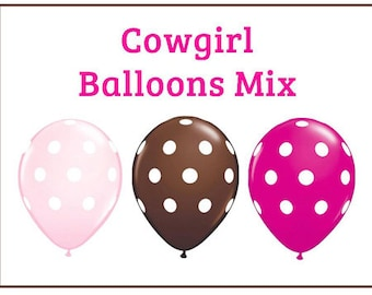 "Cowgirl polka dot Print 11"" Balloons birthday party decorations hot pink, light pink, brown"