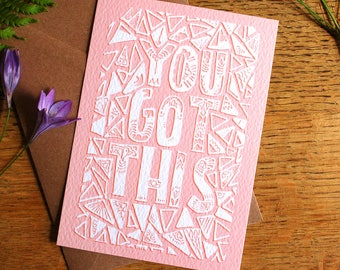 Postive Quote, A6 Art Print, Hand Drawn Typography, Postcard, You Got this, Get Well Soon