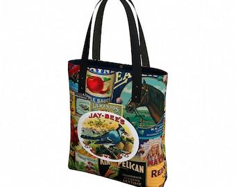 Canvas Tote Bag - Shoulder Bag - Vegan Leather Straps - Tote Bag with Pockets - Reusable Grocery Bag - Boho Bag - Everyday Womens Bag