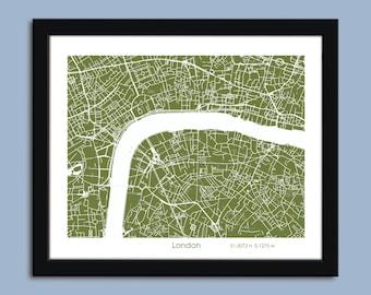 London map, London city map art, London wall art poster, London decorative map, Zoom View