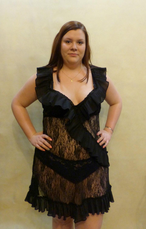 sexy black lingerie nightwear chemise camisole women plus