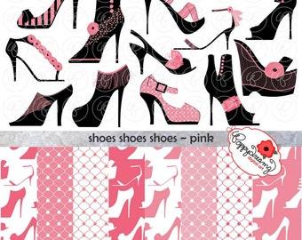 Shoes Shoes Shoes Pink Paper and Elements SET: Digital Scrapbook Paper Pack (300 dpi) Fashion Couture Fabulous Shoes