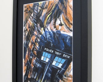 Doctor Who Artwork - Tardis police box painting - A4 art (approx 21cm x 29cm / 8x12 inches) - Framed and ready to hang