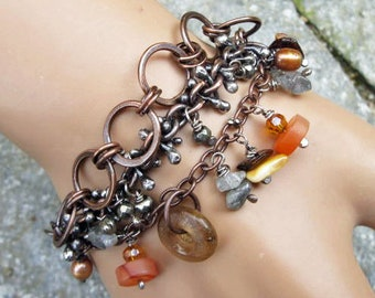 Three strand copper, sterling silver and gemstone cluster bracelet mixed metal