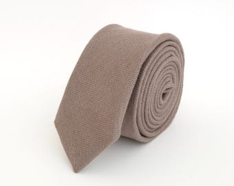 Brown- grey linen  necktie, wedding necktie, linen necktie,  groomsmen necktie,  brown- grey necktie, brown- grey bow tie for men