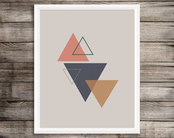 Triangles Print   Geometric Print   Minimal Print   Rustic Shades   Abstract Wall Art   Home Decor