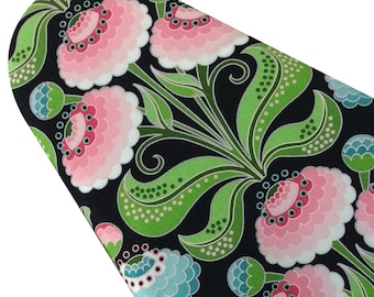 PADDED Ironing Board Cover fitted with elastic, Jane Sassaman Garden Divas Zinnias, select the size