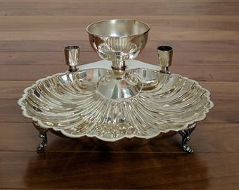 Vintage Collectible LB Silver Scalloped Round Shell-Shaped Centerpiece Serving Bowl w 2 Candles