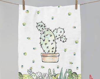 Linen kitchen towel - Cactus pattern - Tea towel - Gift ideas - Home decor - Kitchen towel - Linen towel - Home decor
