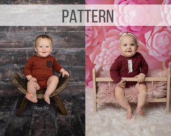 Sam Sitter Romper Pattern Sleeves - Boy Photo Prop Sewing Pattern - Girl Sitter Photo Outfit - Romper Pattern Sewing - Photo Prop Pattern