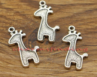 20pcs Giraffe Charms Animal Charms Antique Silver Tone 28x15mm cf0661