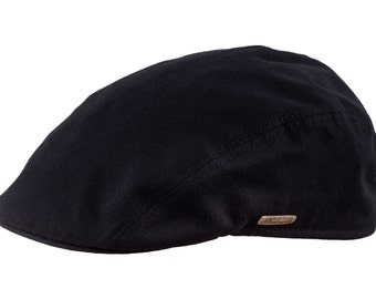 GECKO - Men's Flat Cap made of Pure Emerizing Cotton (peach skin effect) - black
