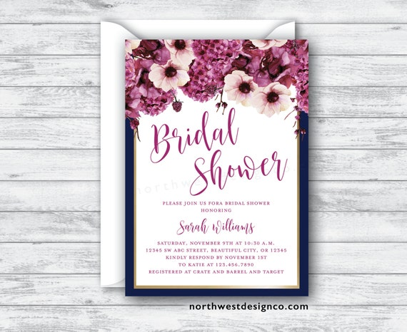Navy maroon bridal shower invitation burgundy floral hydrangea like this item filmwisefo Images