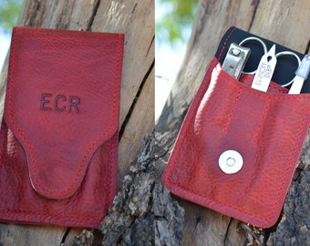 Personalized Red Leather Manicure Set Monogram | Initial Manicure Case | Manicure Kit | Custom Mani Pedi Case Wedding Gift for Her Him Man