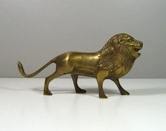 """Vintage Solid Brass Lion Figurine 6.75"""" Long"""
