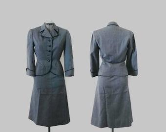 1950s Suit / Vintage New Look Blue Gray Wool Gabardine Fitted Dress Suit, Ben Zuckerman, Sz. M
