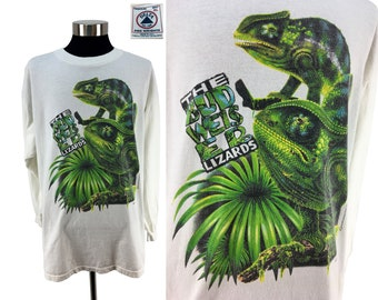 Vintage 1997 BUDWEISER Lizards Long-Sleeve T-Shirt XL // Chameleon // Bud Light // Beer // 90s // Promo // Throwback // Coors // Miller