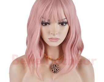 Soft Pink wavy wig with Bangs (14 inches)