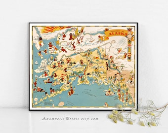 ALASKA MAP PRINT - vintage picture map to frame - perfect housewarming or wedding gift - three sizes available - fun vintage home decor