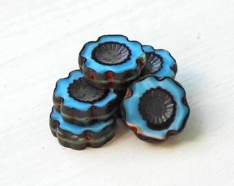 6 Czech Glass Beads 14mm Hawaiian Pansy Flower Beautiful Sky Blue - CB012