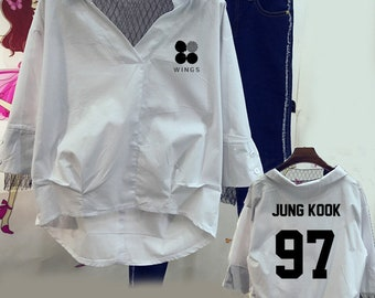 spring summer autumn women shirt BTS KPOP Korean version Lace Hedging Cotton White blue Letter printing Sleeves
