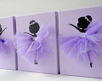Tutu Ballerinas. Lavender Ballerina Wall art. Nursery wall decor.