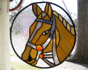 Stained Glass Horse Head Sun-catcher