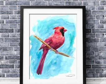 Red cardinal watercolor print, colorful cardinal bird wall art, cardinal painting, cardinal poster, cardinal  decor, cardinal illustration